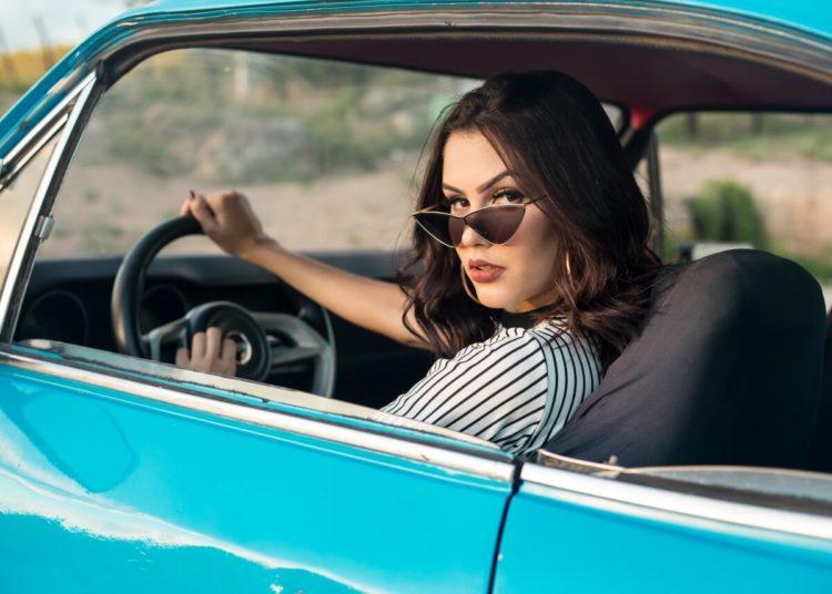 Beauty Blog Girl Driving Car