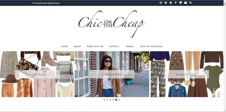 homepage of very popular fashion thrift blogger