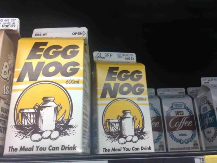 Drinking Eggnog carton