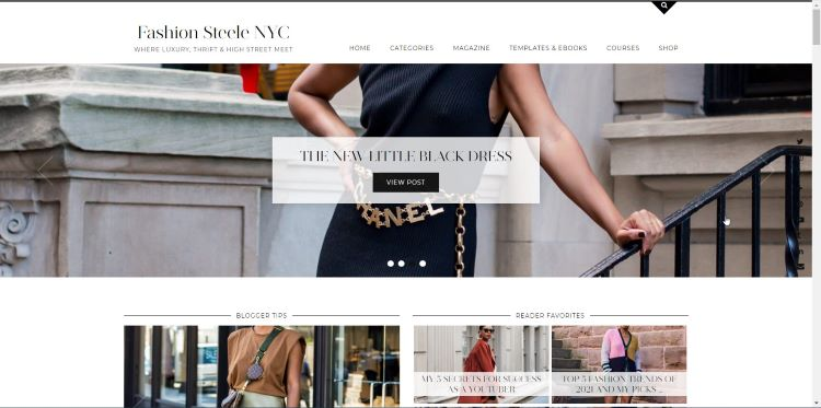 homepage of luxury clothing thrift blog