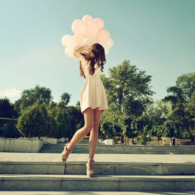Fashion girl air balloons steps stairs