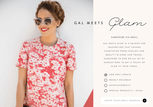 Gal Meets Glam email sign-up form