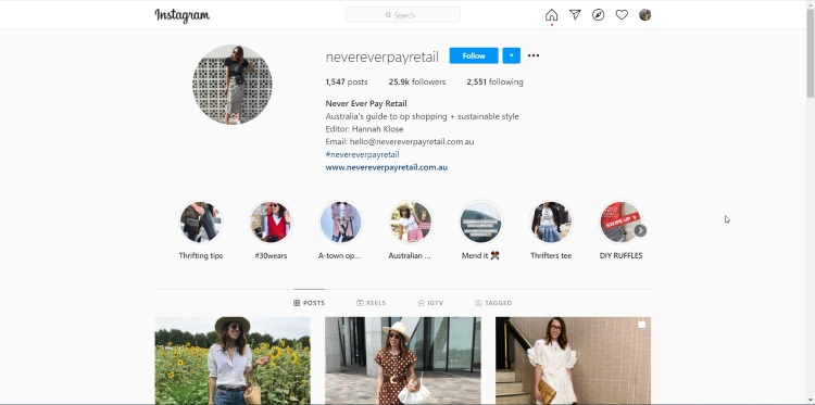 instagram account of thrift stores influencer