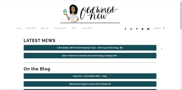 homepage of sustainable living website