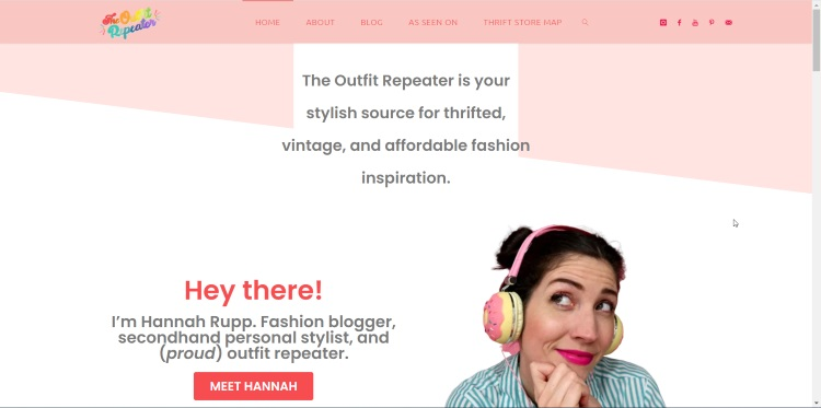 homepage of second-hand fashion blog