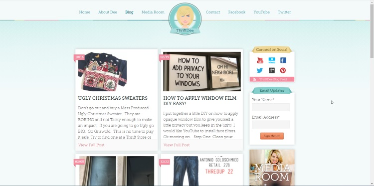 homepage of southern-style thrifting blogger