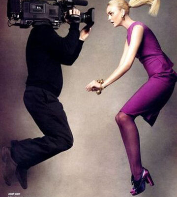 cameraman girl jumping