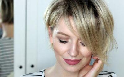 cropped short blonde hair