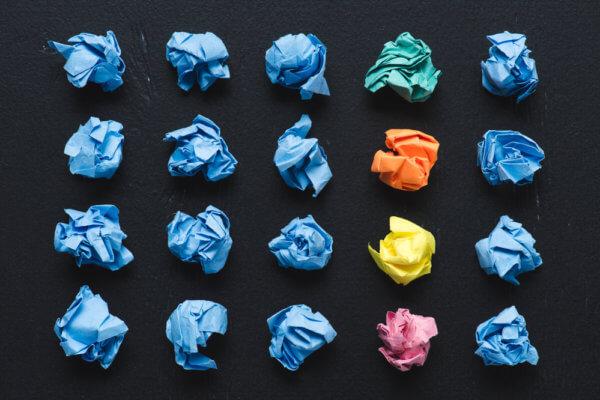 crumpled paper balls idea concept