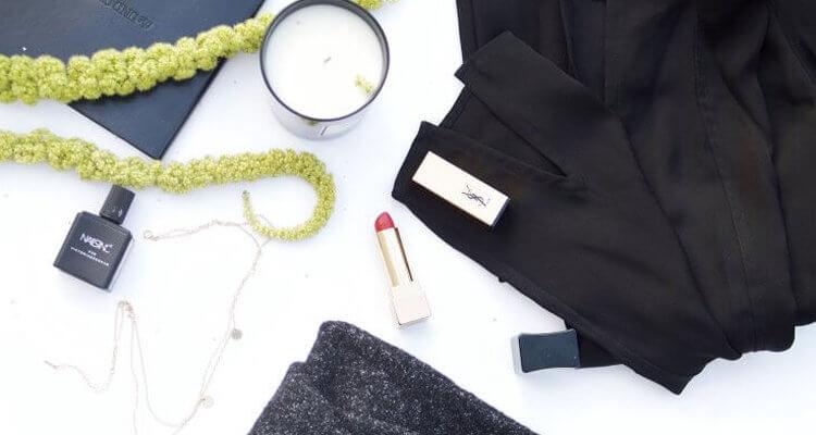 flat lay lipstick nail polish