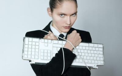girl holding keyboard