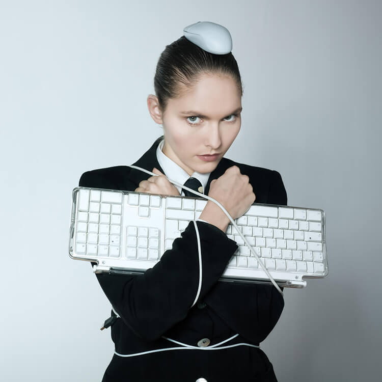 girl holding keyboard