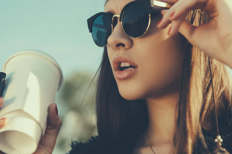 girl sunglasses coffee portrait