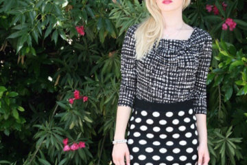 girl wearing polka dotted skirt