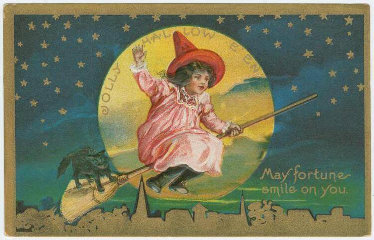 jolly halloween postcard edge