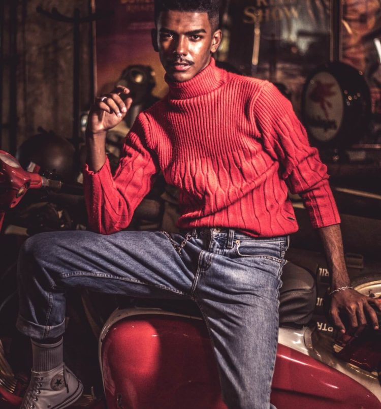 Man Wearing Red Turtleneck