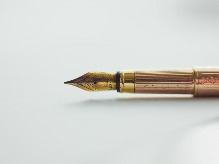 Golden pen for writing