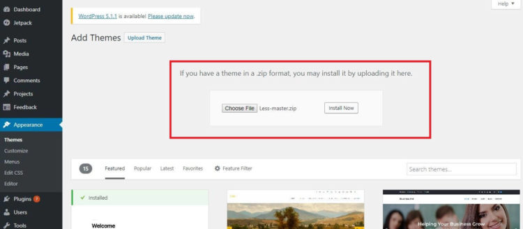 WordPress Settings - Install Theme