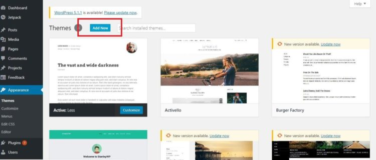 WordPress Settings - Add New Theme