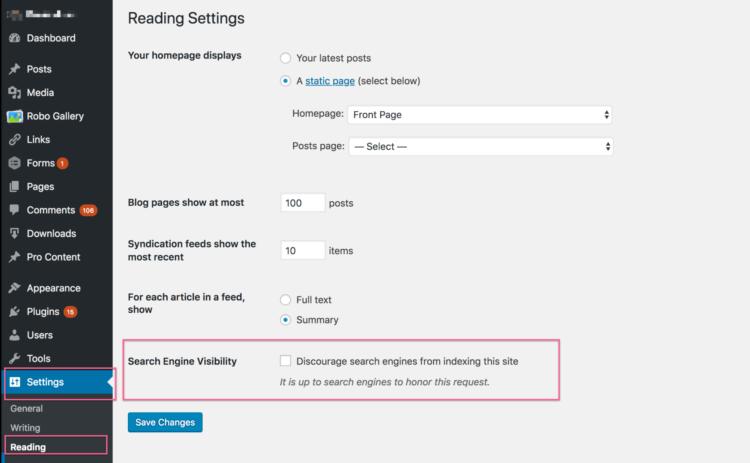 WordPress Settings - Reading