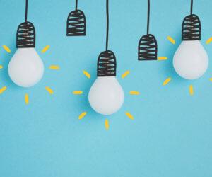white lamps pretending hanging creativity concept