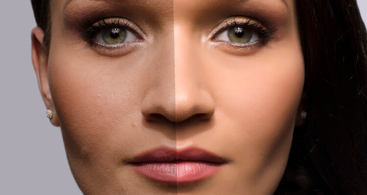 woman before after retouching
