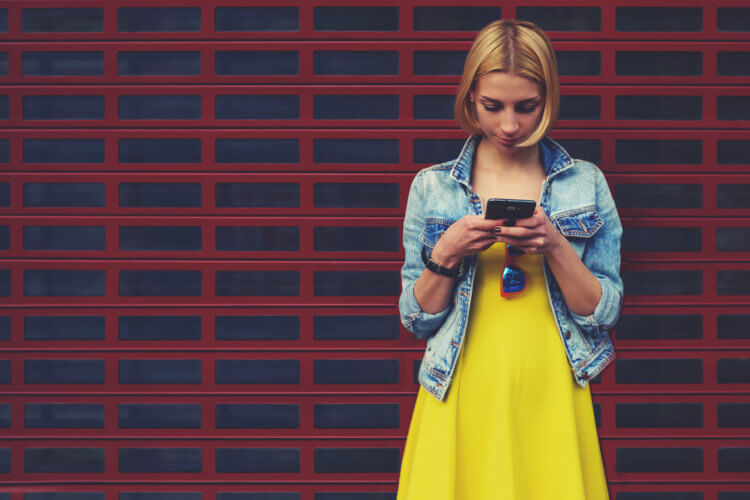 woman chatting smartphone